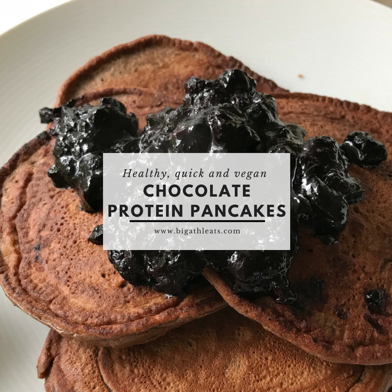 Quick & easy chocolate protein pancakes (with blueberry sauce)